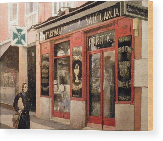 Farmacia Wood Print featuring the painting Farmacia Saiz Garcia by Tomas Castano