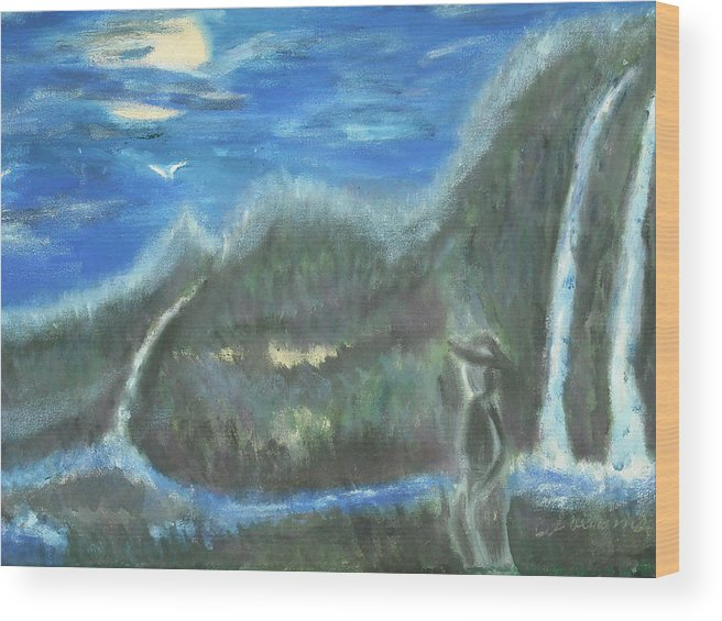 Water Falls Wood Print featuring the painting Feline Water Falls by BJ Abrams