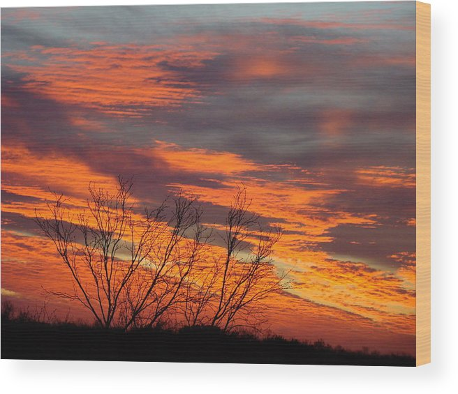 Red Wood Print featuring the photograph Fire Sunrise by Ana Villaronga
