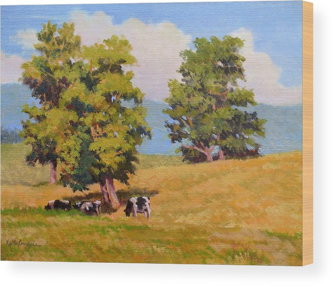 Landscape Wood Print featuring the painting Five Oaks by Keith Burgess