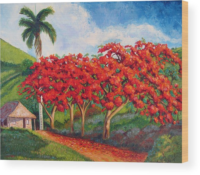 Cuban Art Wood Print featuring the painting Flamboyans by Jose Manuel Abraham