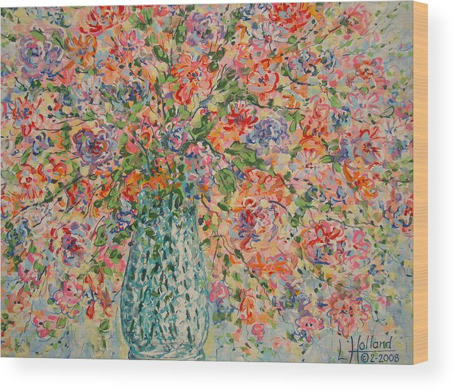 Flowers Wood Print featuring the painting Flowers In Crystal Vase. by Leonard Holland