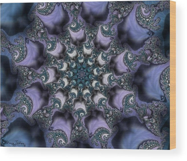 Fractal Rose Blossom Nature Life Organic Wood Print featuring the digital art Fractal 1 by Veronica Jackson
