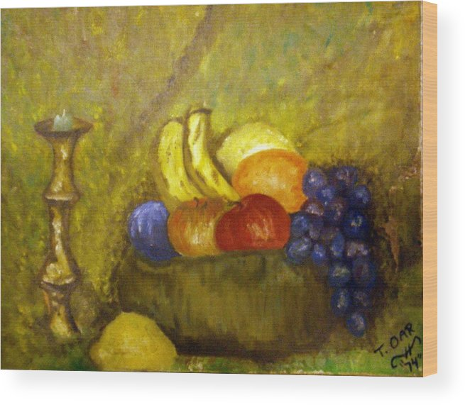 Still Life Wood Print featuring the painting Fruitbowl And Candle by Tammera Malicki-Wong