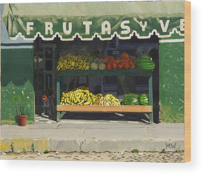 Market In Puerto Vallarta Mexico. Dog Added. Wood Print featuring the painting Frutas Y by Michael Ward