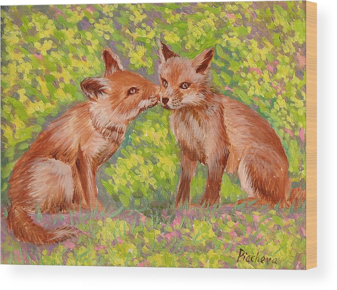 Animals Wood Print featuring the painting Funny Foxes .2007 by Natalia Piacheva