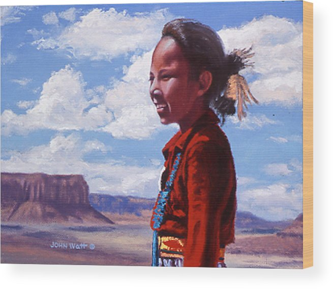 Navajo Indian Southwestern Monument Valley Wood Print featuring the painting Futures Bright by John Watt