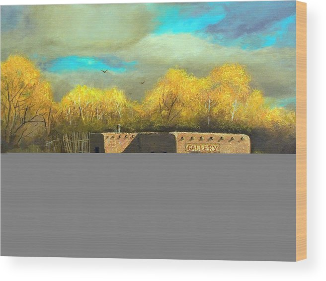 Landscape Wood Print featuring the painting Gallery Closed On Canyon Road by Brooke Lyman