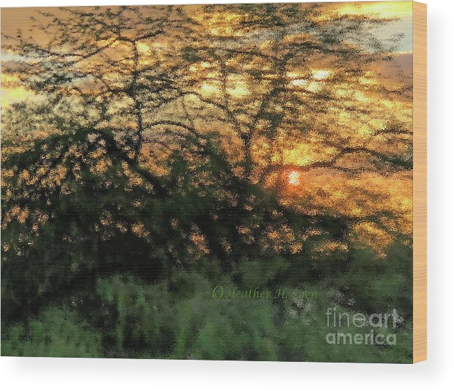 Sunset Wood Print featuring the photograph Glass Sunset Hawaii by Heather Coen