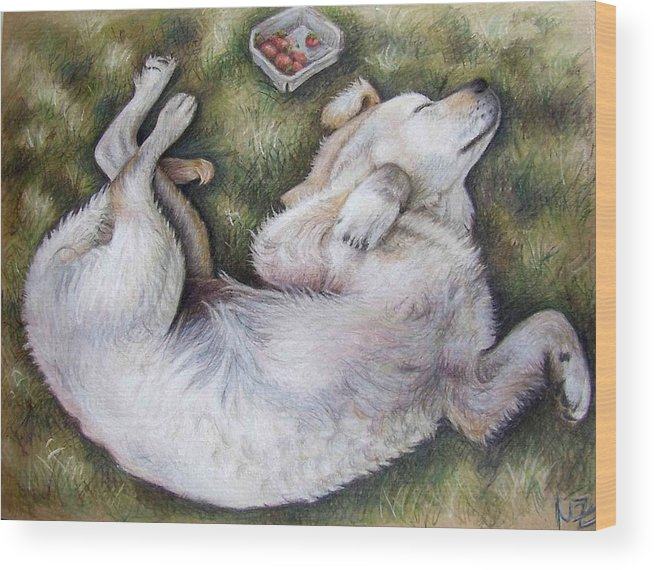 Dog Wood Print featuring the pastel Golden Retriever Puppy by Nicole Zeug