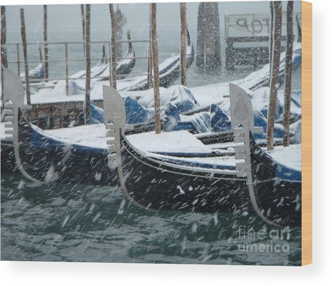 Venice Wood Print featuring the photograph Gondolas In Venice During Snow Storm by Michael Henderson