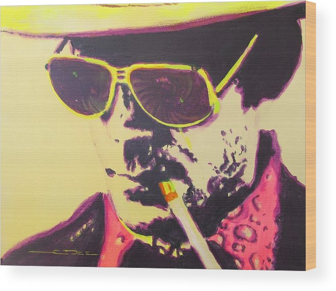 Hunter S. Thompson Wood Print featuring the painting Gonzo - Hunter S. Thompson by Eric Dee