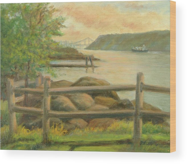 George Washington Bridge Wood Print featuring the painting GWB from Hastings by Phyllis Tarlow