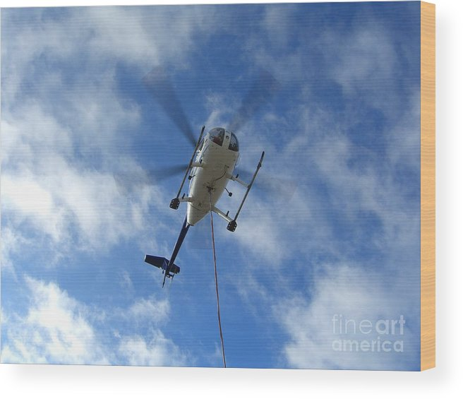 Helicopter Wood Print featuring the photograph Helicopter Hover by Jim Thomson