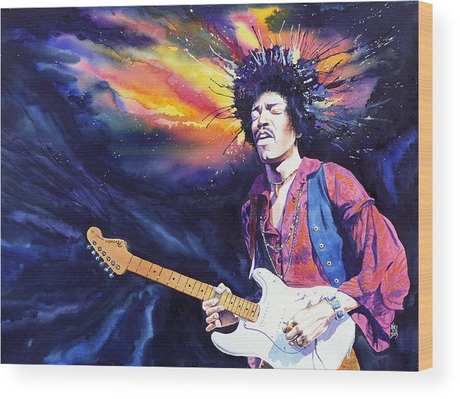 Jimi Hendrix Wood Print featuring the painting Hendrix by Ken Meyer jr
