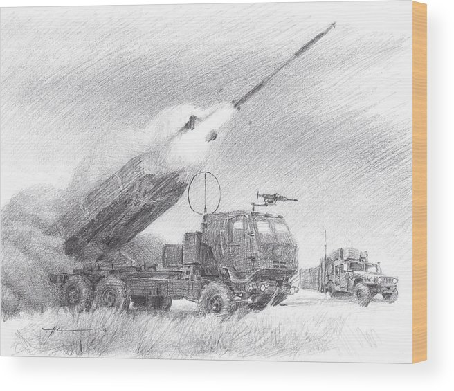 Www.miketheuer.com Himars Pencil Portrait Wood Print featuring the drawing HIMARS pencil portrait by Mike Theuer