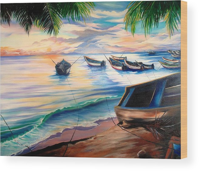 Ocean Painting Caribbean Painting Seascape Painting Beach Painting Fishing Boats Painting Sunset Painting Blue Palm Trees Fisherman Trinidad And Tobago Painting Tropical Painting Wood Print featuring the painting Home From The Sea by Karin Dawn Kelshall- Best