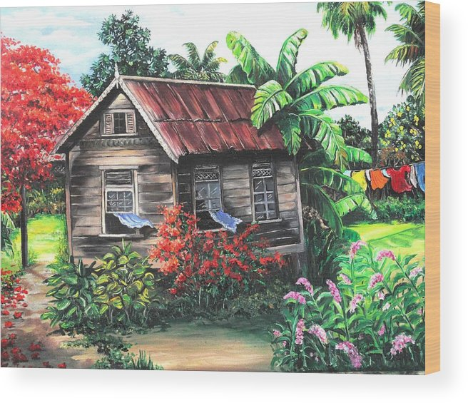 Caribbean House Wood Print featuring the painting Home Sweet Home by Karin Dawn Kelshall- Best