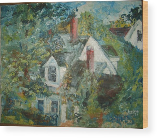 Landscape Trees House Wood Print featuring the painting House In Gorham by Joseph Sandora Jr