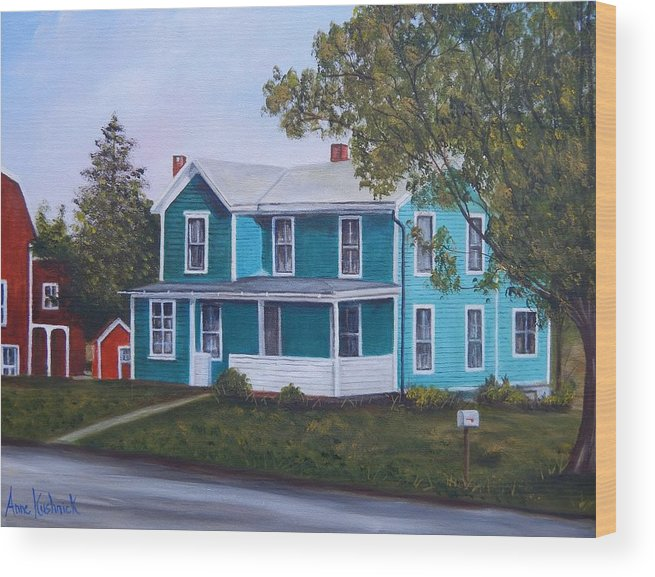 Seward House Wood Print featuring the painting House in Seward by Anne Kushnick