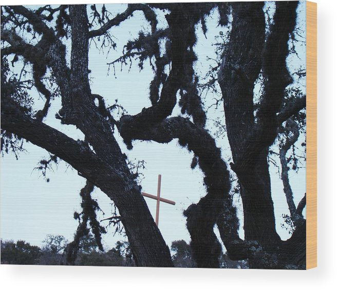 Cross Wood Print featuring the photograph Hwy 87 Cross Two by Ana Villaronga