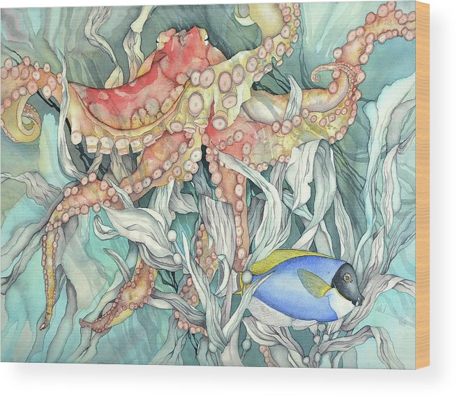 Ocean Wood Print featuring the painting I'm fabulous by Liduine Bekman