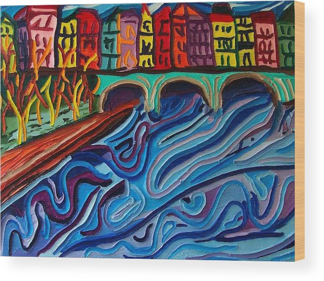 Wood Print featuring the painting In Seine by Ira Stark