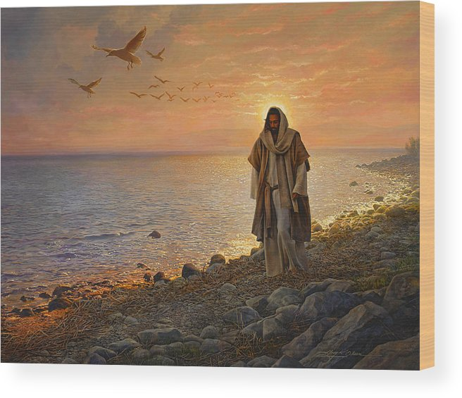 Jesus Wood Print featuring the painting In the World Not of the World by Greg Olsen