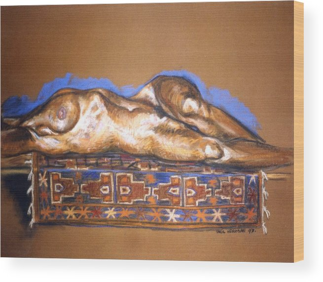 Nude Wood Print featuring the painting Isabel on Afghan carpet by Paul Herman