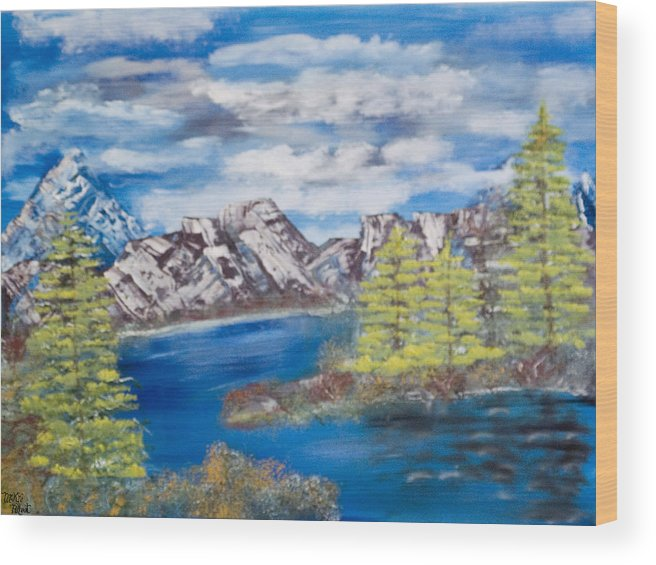 Wooded Landscape Wood Print featuring the painting Island Cove by Mikki Alhart