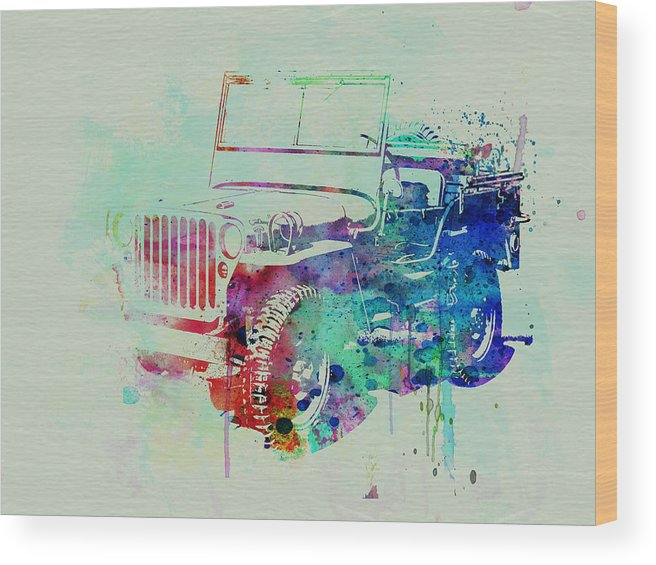Willis Wood Print featuring the painting Jeep Willis by Naxart Studio