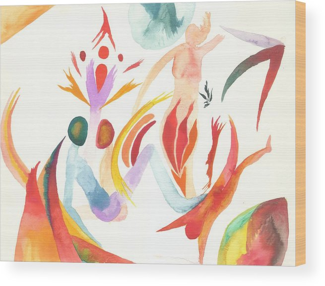 Watercolor Wood Print featuring the painting Joining In Union by Peter Shor