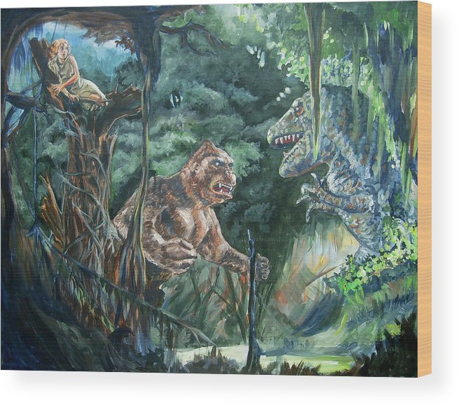 King Kong Wood Print featuring the painting King Kong vs T-Rex by Bryan Bustard