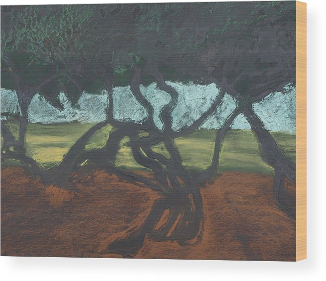 Contemporary Tree Landscape Wood Print featuring the mixed media La Jolla II by Leah Tomaino