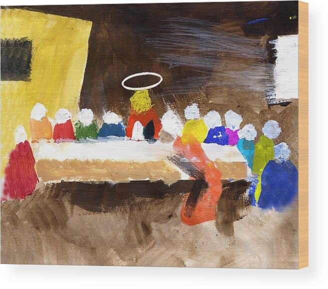 Jesus Wood Print featuring the mixed media LastSupper by Curtis J Neeley Jr