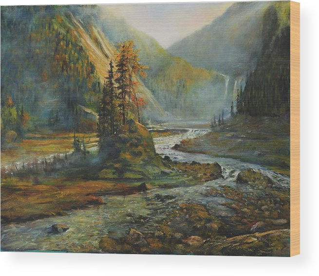 Landscape Wood Print featuring the painting Light After The Storm by Craig shanti Mackinnon