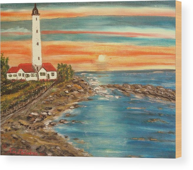 Lighthouse Wood Print featuring the painting Light house 1 by Kenneth LePoidevin
