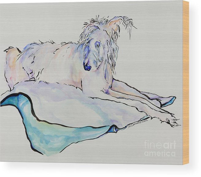 Animal Portrait Wood Print featuring the painting Maevis by Pat Saunders-White