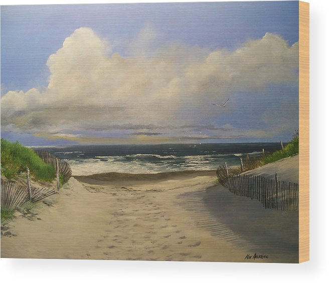 Beac Wood Print featuring the painting Mary's Beach by Ken Ahlering