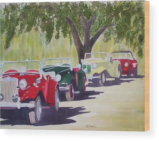 Mg Wood Print featuring the painting MGs at Simpsons by Ally Benbrook