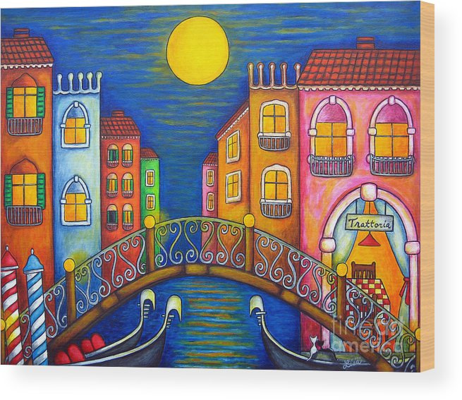 Venice Wood Print featuring the painting Moonlit Venice by Lisa Lorenz