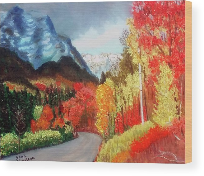 Mountain Wood Print featuring the painting Mountain Scene by Stan Hamilton