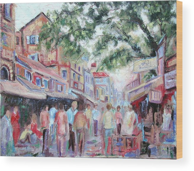 Bombay Markets Wood Print featuring the painting Mumbai Market by Ginger Concepcion