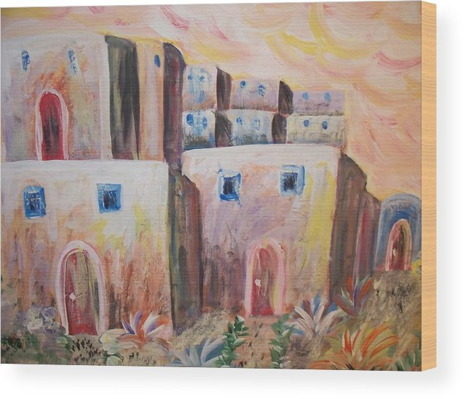 Santa Fe Wood Print featuring the painting My Golden Palace by Lindsay St john