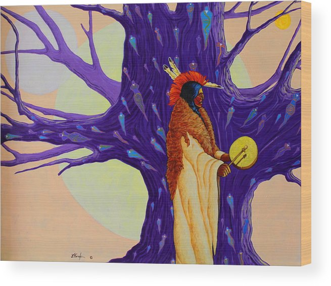 Mystic Wood Print featuring the painting Mystic Powers of The Medicine Man by Joe Triano