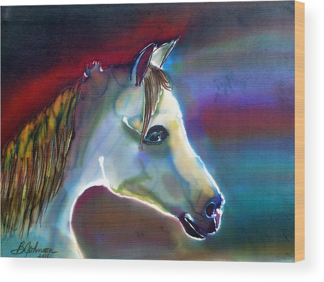 Horse Wood Print featuring the painting Mystical by Beverly Johnson