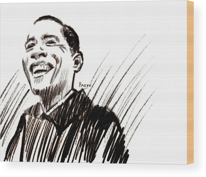 Barack Obama Wood Print featuring the digital art Obama by Michael Facey