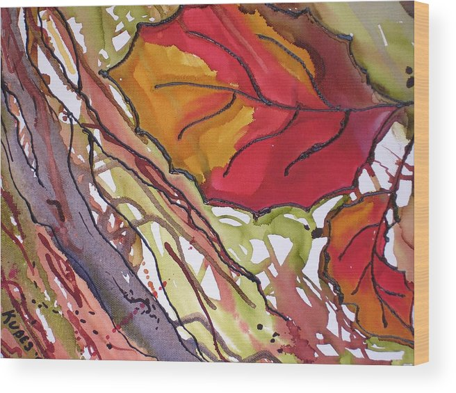 Leaf Wood Print featuring the mixed media OctoberSecond by Susan Kubes