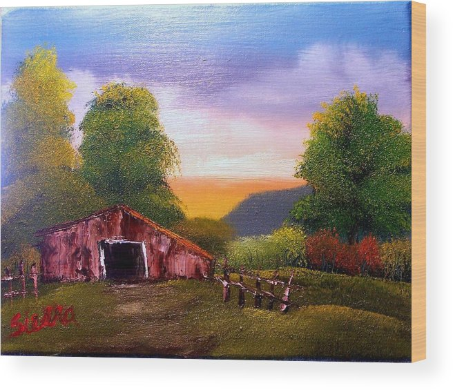 Barn Wood Print featuring the painting Old Barn in the Meadow by Dina Sierra
