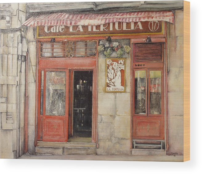 Cafe Wood Print featuring the painting Old Cafe- Santander Spain by Tomas Castano